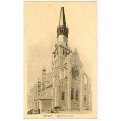 carte postale ancienne 28 BONNEVAL. Eglise Notre-Dame et voitures anciennes