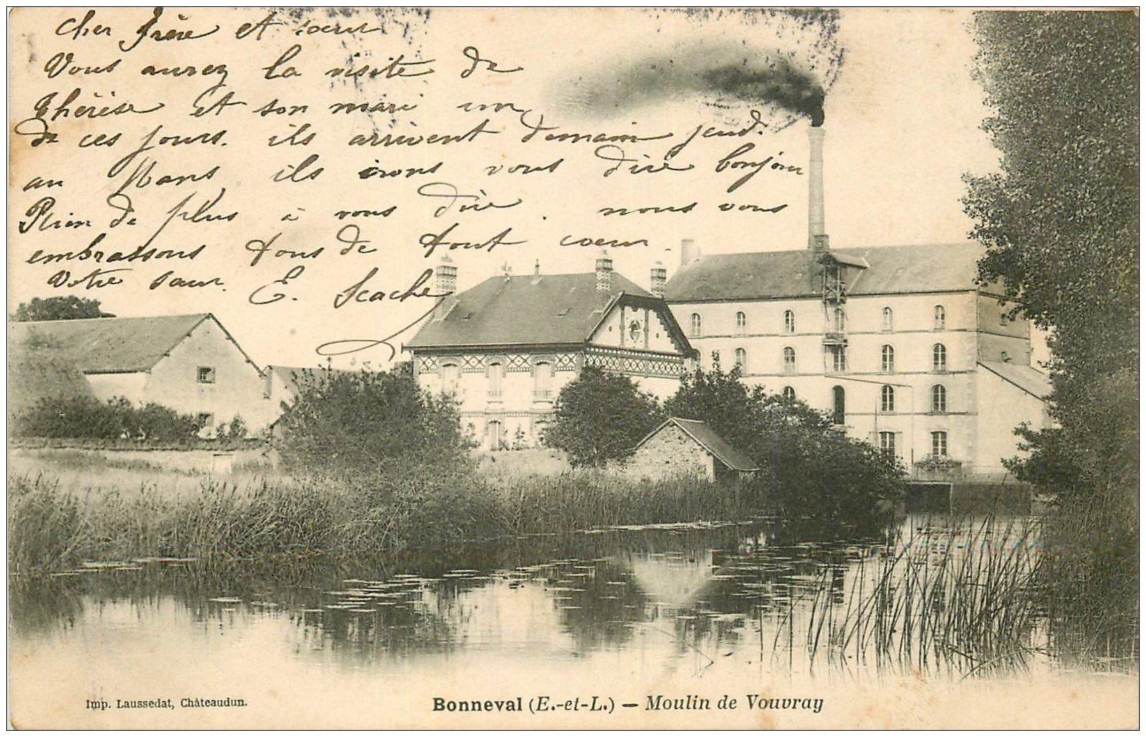 carte postale ancienne 28 BONNEVAL. Moulin de Vouvray 1905