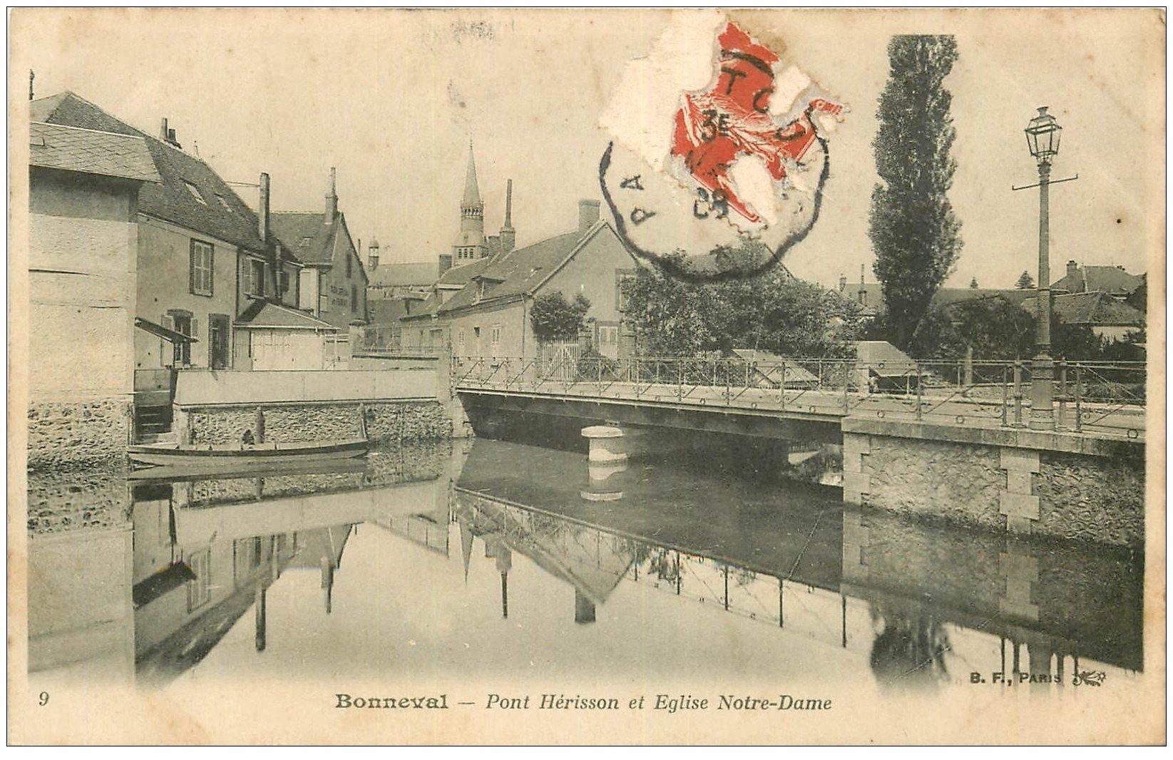 carte postale ancienne 28 BONNEVAL. Pont Hérisson et Eglise Notre-Dame 1928