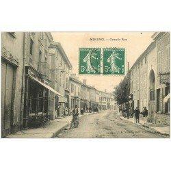 carte postale ancienne 01 MIRIBEL. Grande Rue 1909. Coiffeur Tabac