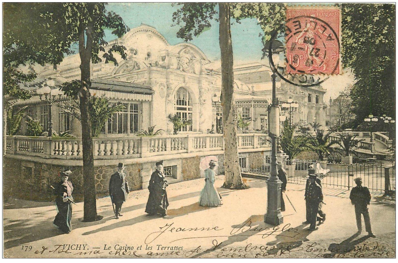 carte postale ancienne 03 VICHY. Casino. les Terrasses 1905