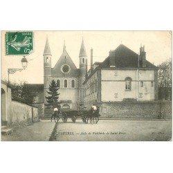 carte postale ancienne 28 CHARTRES. Asile de Vieillards de Saint-Brice vers 1908. Attelage Militaires