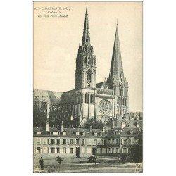 carte postale ancienne 28 CHARTRES. Cathédrale Place Châtelet