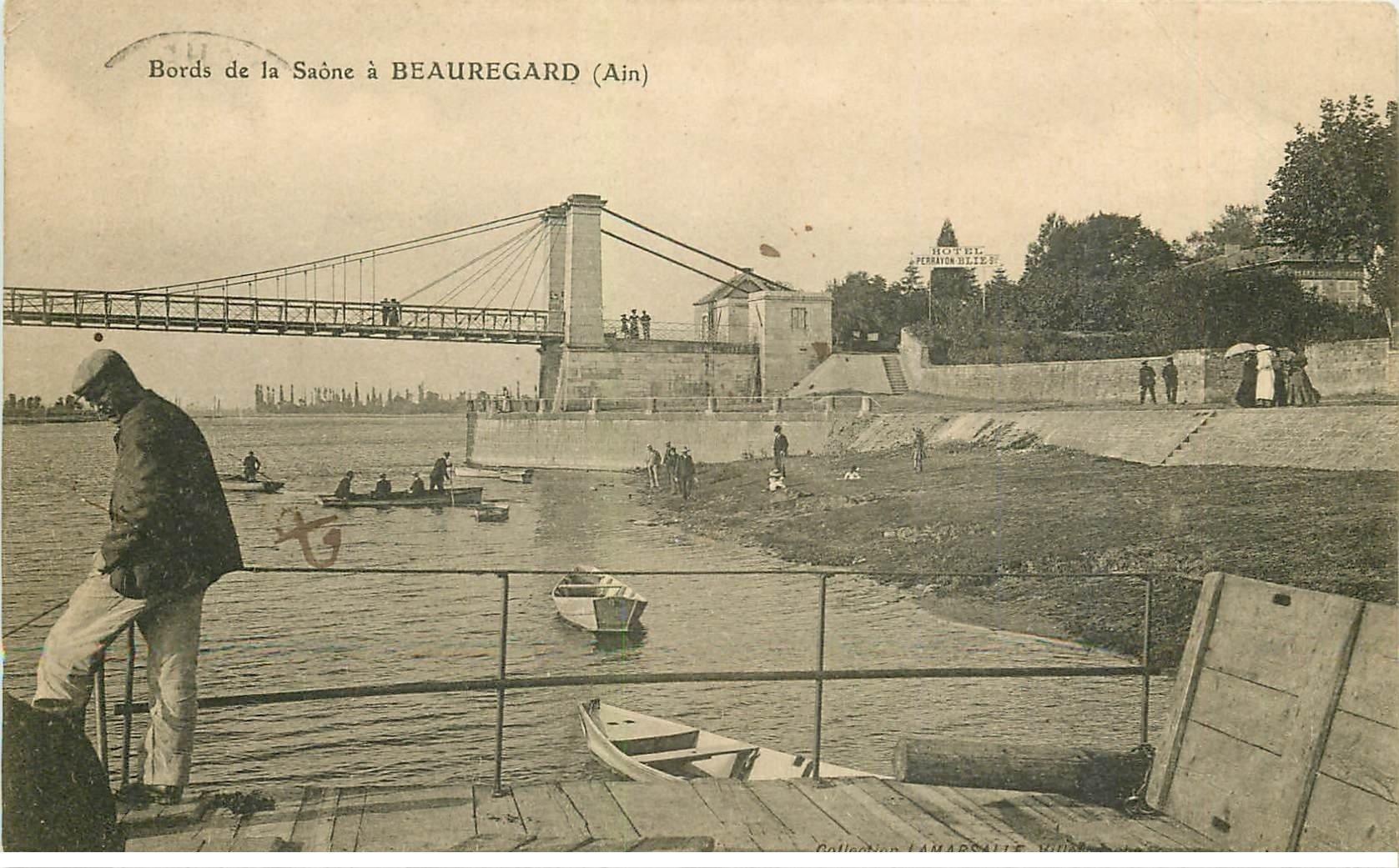 carte postale ancienne 01 Beauregard. Bords de la Saône 1907. Hôtel Perrayon Blie