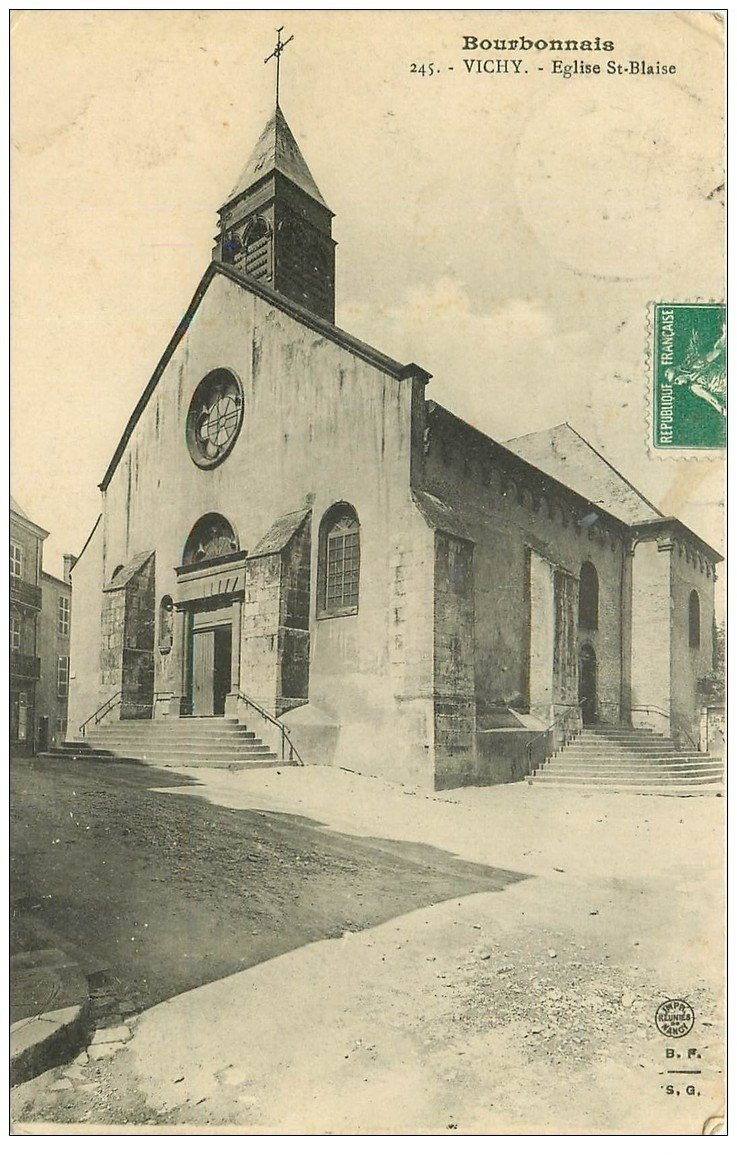 carte postale ancienne 03 VICHY. Eglise Saint-Blaise 1911