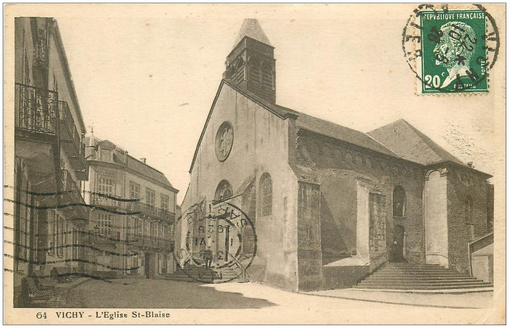 carte postale ancienne 03 VICHY. Eglise Saint-Blaise 1926