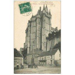 carte postale ancienne 28 CHATEAUDUN. Le Château 1910. Caïffa Et Café Vanier