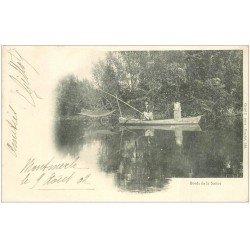 carte postale ancienne 01 MONTMERLE. Pêcheurs au Carrelet sur la Saône. Rare Carte Pionnière 1902. Métiers de la Mer et Rivières