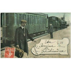 carte postale ancienne 28 CHATEAUDUN. Train et Locomotive à vapeur 1912. Aqua Photo