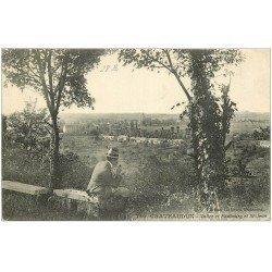 carte postale ancienne 28 CHATEAUDUN. Vallée et Faubourg Saint-jean 1916. Fumeur de pipe assis