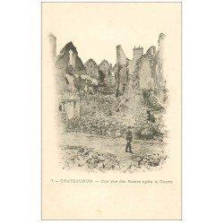carte postale ancienne 28 CHATEAUDUN.Ruines après la Guerre vers 1900