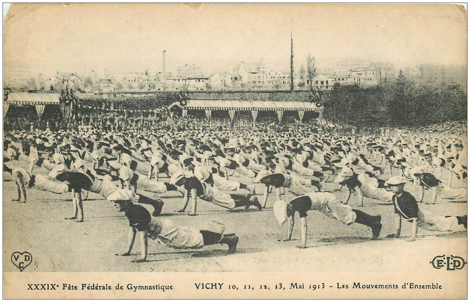 carte postale ancienne 03 VICHY. Fête Fédérale de Gymnastique. Mouvements d'Ensemble (défaut)...