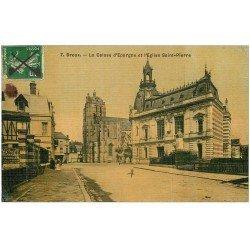 carte postale ancienne 28 DREUX. Caisse d'Epargne 1913 Carte Toilée