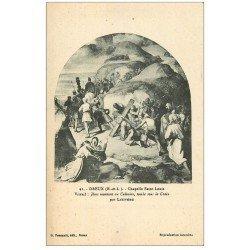 carte postale ancienne 28 DREUX. Chapelle St-Louis. Vitrail. Jésus au Calvaire