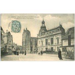 carte postale ancienne 28 DREUX. Eglise Saint-Pierre et Caisse d'Epargne 1906