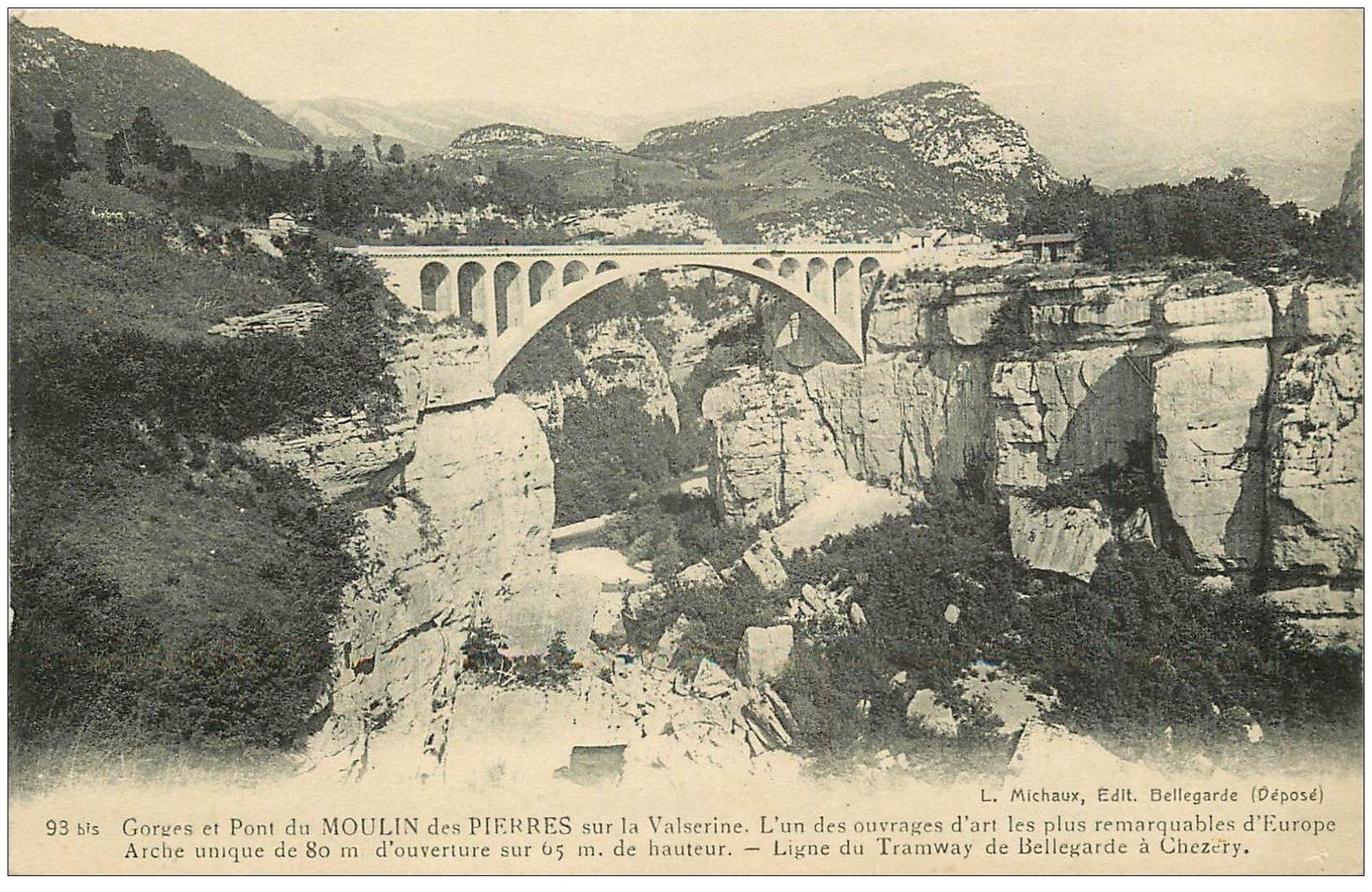 carte postale ancienne 01 MOULIN-DES-PIERRES. Gorges et Pont. Ligne Tramway de Bellegarde à Chézery