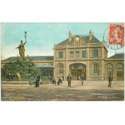 carte postale ancienne 03 VICHY. La Gare 1910 carte toilée édition Aqua Photo