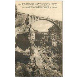 carte postale ancienne 01 MOULIN-DES-PIERRES. Valserine Pont du Tramway de Bellegarde à Chézery