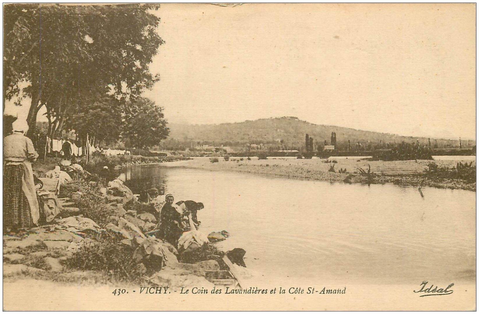 carte postale ancienne 03 VICHY. L'Allier. Laveuses Lavandières de Saint-Amand