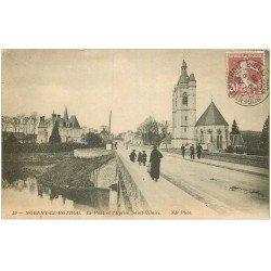 carte postale ancienne 28 NOGENT-LE-ROTROU. Le Pont et Eglise Saint-Hilaire 1925