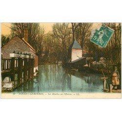 carte postale ancienne 28 NOGENT-LE-ROTROU. Les Moulins sur l'Huisne 1916