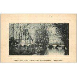 carte postale ancienne 28 NOGENT-LE-ROTROU. L'Huisne Ponts et Eglise Saint-Hilaire 1911