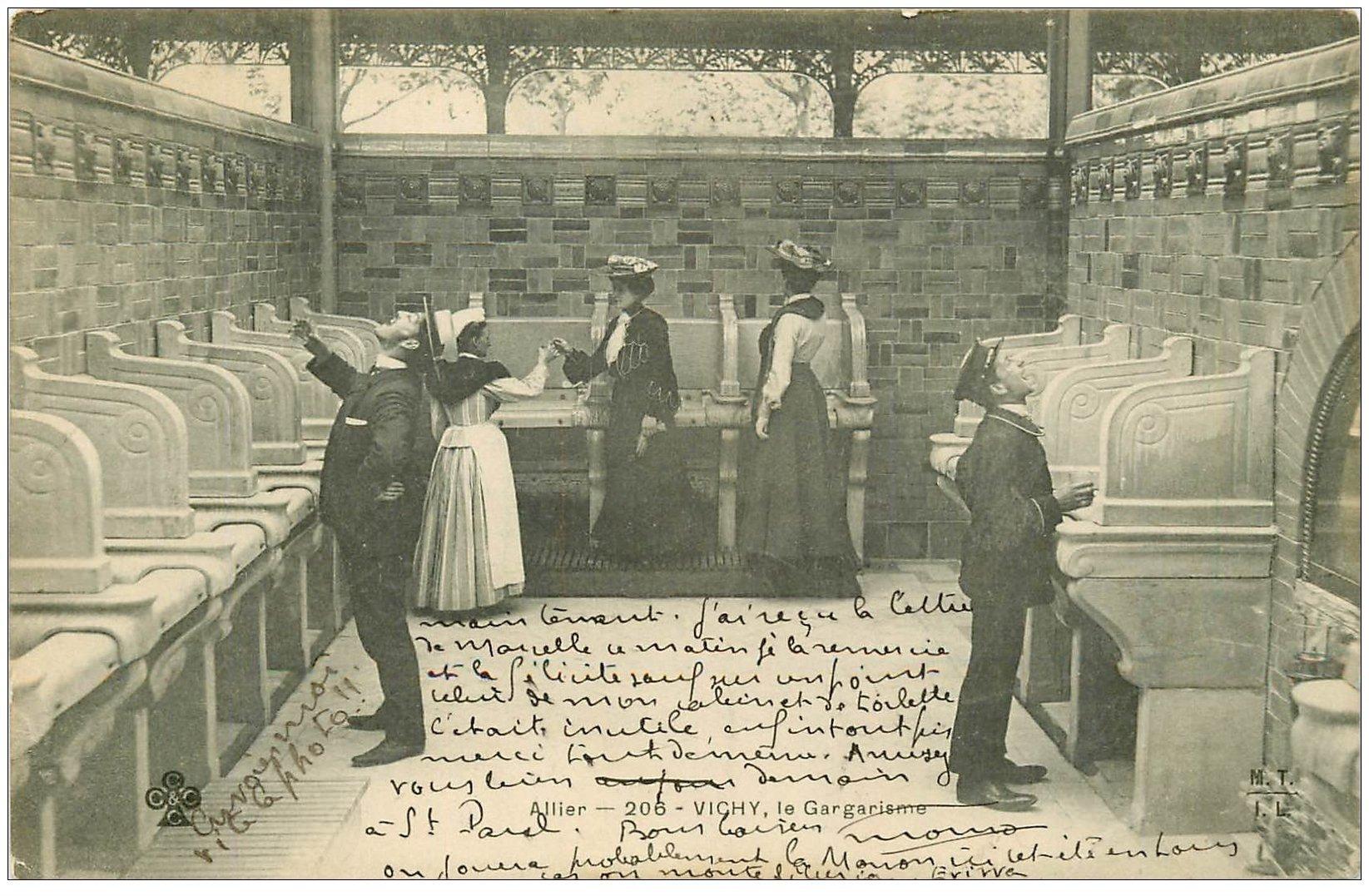 carte postale ancienne 03 VICHY. Le Gargarisme 1906