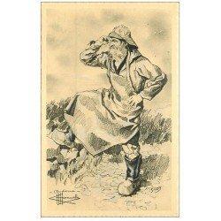 carte postale ancienne 29 AUDIERNE. Type de Pêcheur d' Homualk. Papier velin dentelé découpe à la ficelle