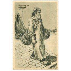 carte postale ancienne 29 AUDIERNE. Type de Pêcheur par Homualk. Papier velin dentelé découpe à la ficelle