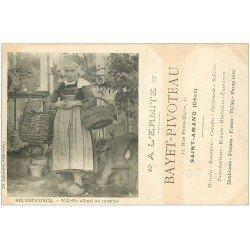 29 BEUZEC-CONCQ. Fillette allant au Marché. Publicité A l'Ermite rue Porte-Mutin à Saint-Amand (Eure) vers 1900