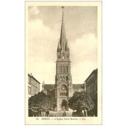 carte postale ancienne 29 BREST. Eglise Saint-Martin