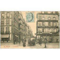 carte postale ancienne 29 BREST. Grand Rue 1906. Pharmacie Eaux Gazeuses et Charcuterie