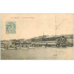 carte postale ancienne 29 BREST. La Défense Mobile 1906. Navire de Guerre