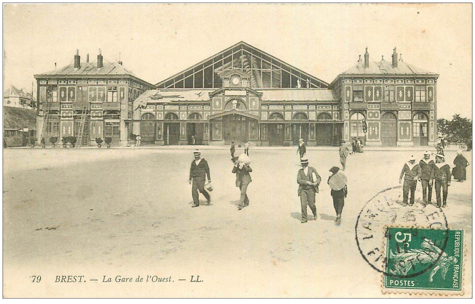 carte postale ancienne 29 BREST. La Gare de l'Ouest 1911