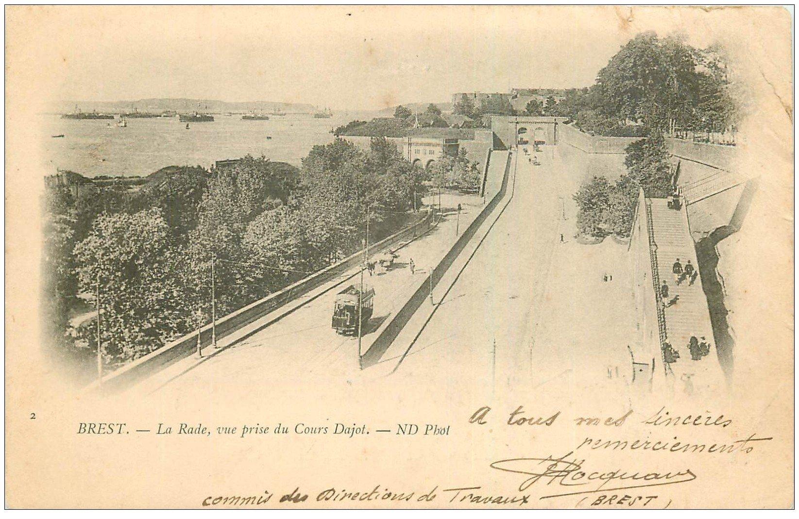 carte postale ancienne 29 BREST. La Rade et Cours Dujot 1902 (défaut)