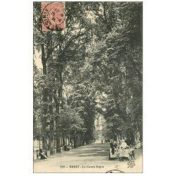 carte postale ancienne 29 BREST. Le Cours d'Ajot 1906 avec Nurses