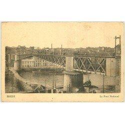 carte postale ancienne 29 BREST. Le Pont National et Passerelle en dessous