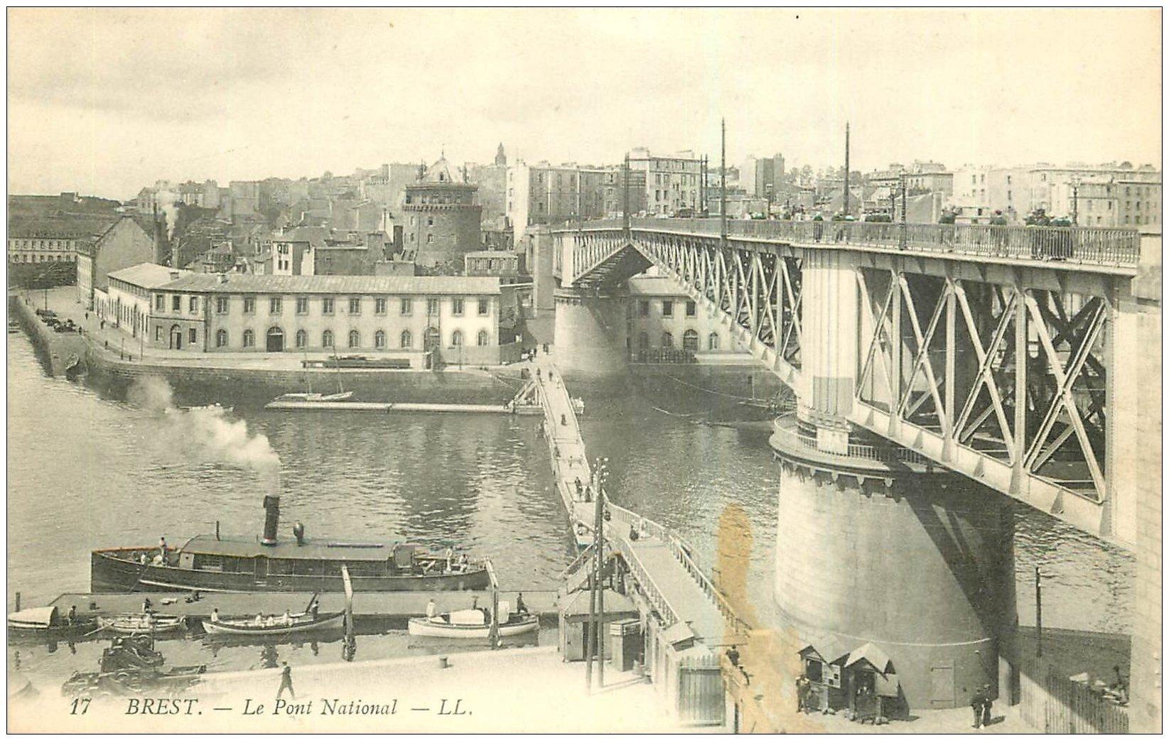 carte postale ancienne 29 BREST. Le Pont National n°17