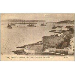 carte postale ancienne 29 BREST. Pointe du Fer à Cheval. Escadre et Goulet 1926