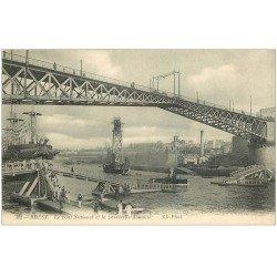 carte postale ancienne 29 BREST. Pont National et Passerelle flottante