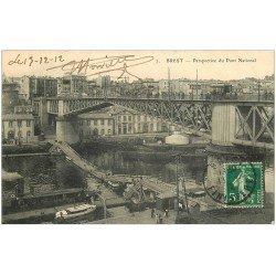 carte postale ancienne 29 BREST. Pont National et Passerelle flottante 1912