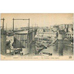 carte postale ancienne 29 BREST. Pont National ouvert
