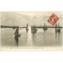 carte postale ancienne 29 BREST. Port de Commerce 1911 la nuit