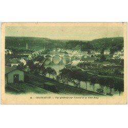 carte postale ancienne 29 CHATEAULIN. Pont Neuf sur l'Aulne 1930