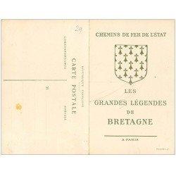 carte postale ancienne 29 Chemins de Fer de l'Etat. Arthus et Lancelot. Helgoat. Carte double détachable