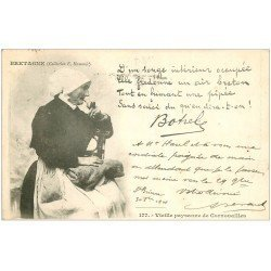carte postale ancienne 29 CORNOUAILLES. Vieille Paysanne 1901. Botrel