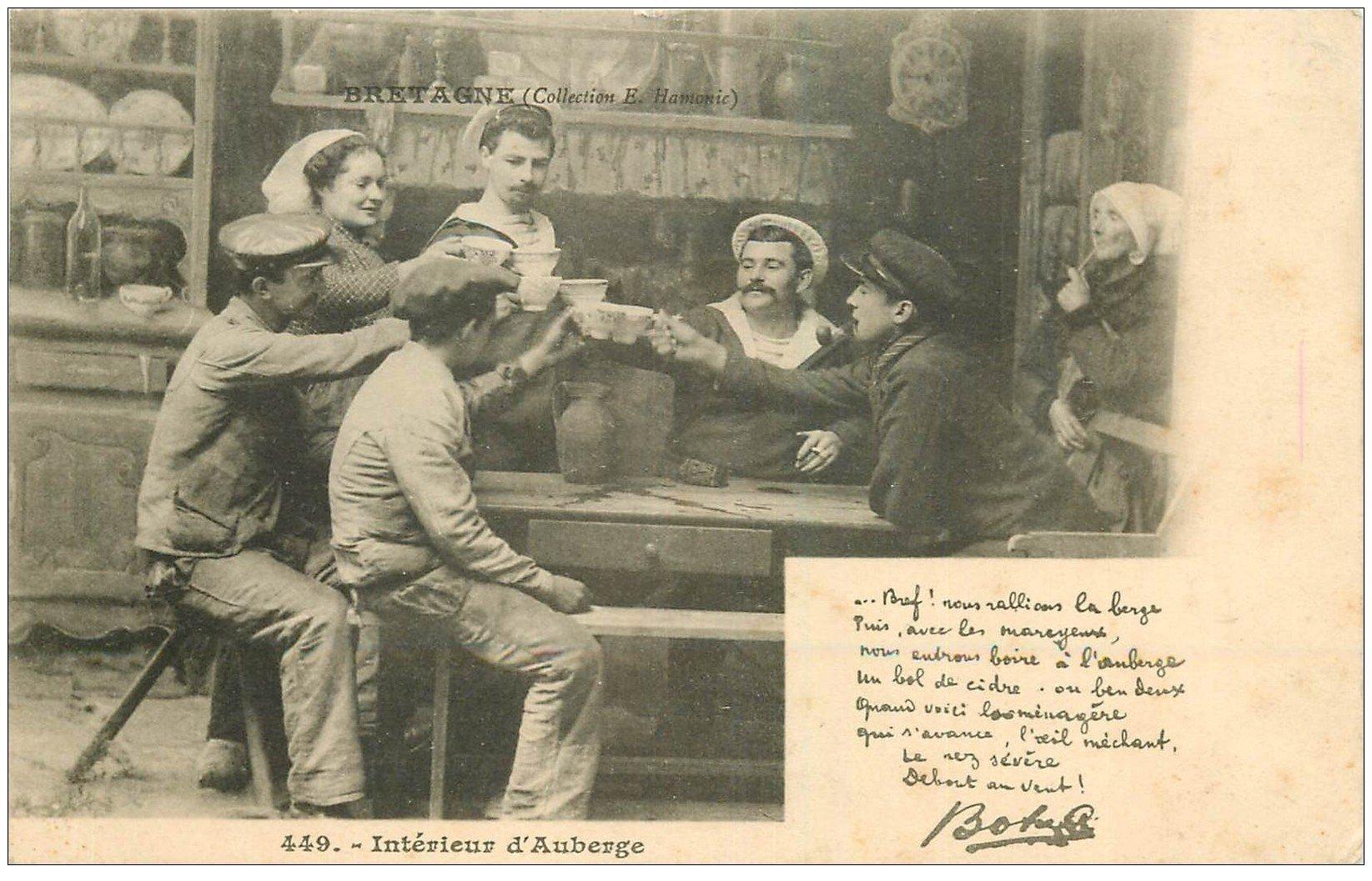29 interieur d 39 auberge marins trinquant botrel vers 1900 for Interieur 1900