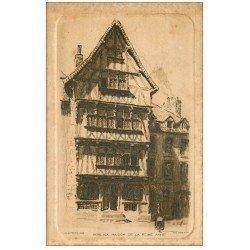 carte postale ancienne 29 MORLAIX. Maison Reine Anne. papier velin Eau Forte par Chaffeux