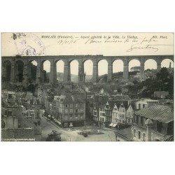 carte postale ancienne 29 MORLAIX. Train sur le Viaduc 1915