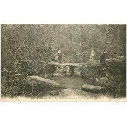 carte postale ancienne 29 PONT-AVEN. Pont rustique de Plessis. Vallée de l'Aven vers 1900